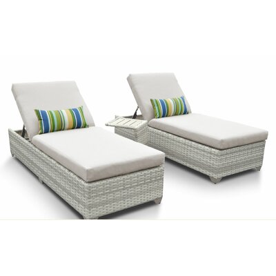 Fairmont 3 Piece Chaise Lounge Set with Cushion Fabric: Beige