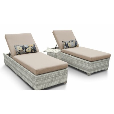 Fairmont 3 Piece Chaise Lounge Set with Cushion Fabric: Wheat