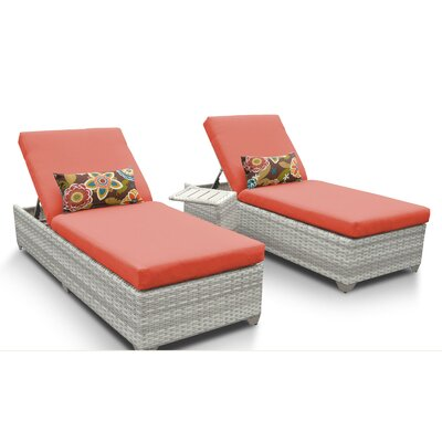 Fairmont 3 Piece Chaise Lounge Set with Cushion Fabric: Tangerine