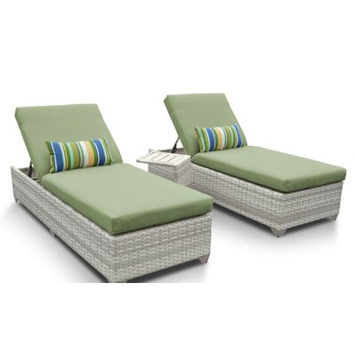 Fairmont 3 Piece Chaise Lounge Set with Cushion Fabric: Cilantro