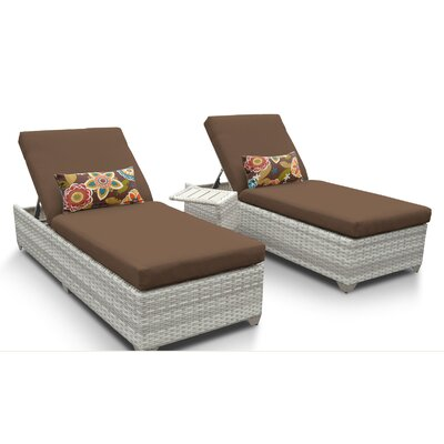 Fairmont 3 Piece Chaise Lounge Set with Cushion Fabric: Cocoa