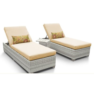 Fairmont 3 Piece Chaise Lounge Set with Cushion Fabric: Sesame