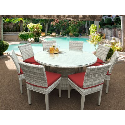 Fairmont 9 Piece Dining Set Cushion Color: Terracotta