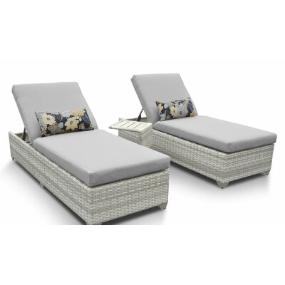 Fairmont 3 Piece Chaise Lounge Set with Cushion Fabric: Gray