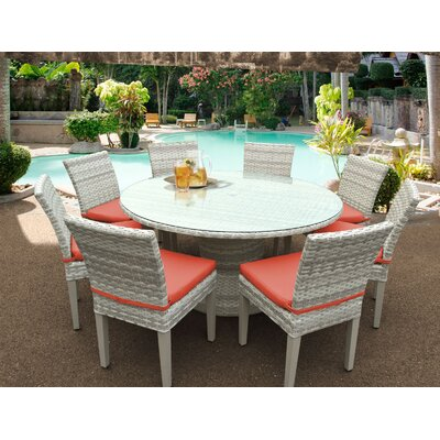 Fairmont 9 Piece Dining Set Cushion Color: Tangerine
