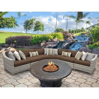 Fairmont Outdoor Wicker 6 Piece Fire Pit Seating Group with Cushion Fabric: Cocoa