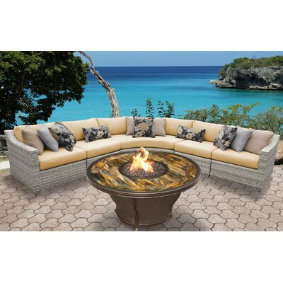 Fairmont Outdoor Wicker 6 Piece Fire Pit Seating Group with Cushion Fabric: Sesame