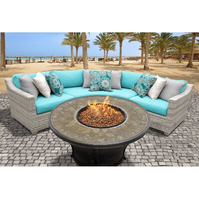 Fairmont Outdoor Wicker 4 Piece Fire Pit Seating Group with Cushion Fabric: Aruba