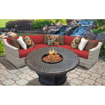 Fairmont Outdoor Wicker 4 Piece Fire Pit Seating Group with Cushion Fabric: Terracotta