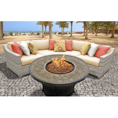 Fairmont Outdoor Wicker 4 Piece Fire Pit Seating Group with Cushion Fabric: Sesame