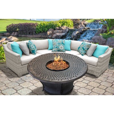 Fairmont Outdoor Wicker 4 Piece Fire Pit Seating Group with Cushion Fabric: Beige