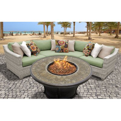 Fairmont Outdoor Wicker 4 Piece Fire Pit Seating Group with Cushion Fabric: Cilantro