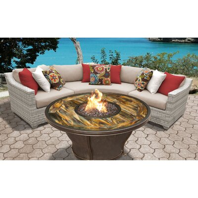 Fairmont Outdoor Wicker 4 Piece Fire Pit Seating Group with Cushion Fabric: Wheat