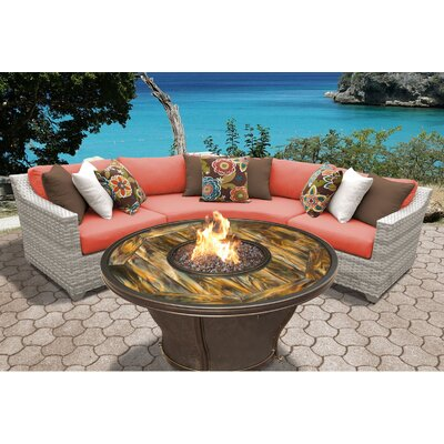 Fairmont Outdoor Wicker 4 Piece Fire Pit Seating Group with Cushion Fabric: Tangerine