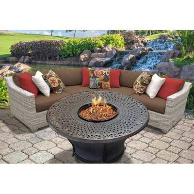 Fairmont Outdoor Wicker 4 Piece Fire Pit Seating Group with Cushion Fabric: Cocoa