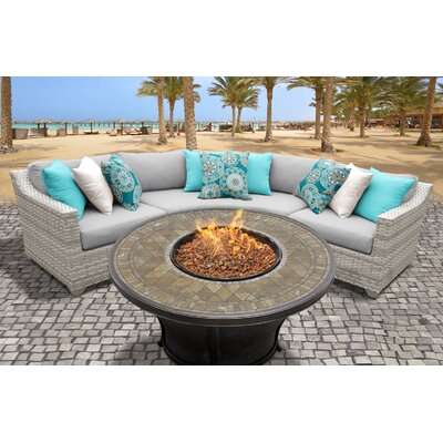 Fairmont Outdoor Wicker 4 Piece Fire Pit Seating Group with Cushion Fabric: Gray