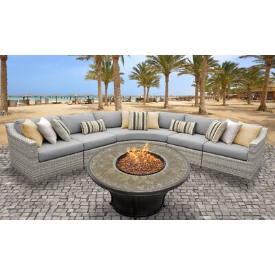 Fairmont Outdoor Wicker 6 Piece Fire Pit Seating Group with Cushion Fabric: Gray