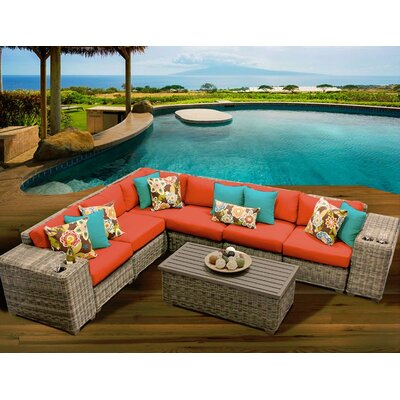 Cape Cod 9 Piece Sectional Seating Group with Cushion Fabric: Tangerine