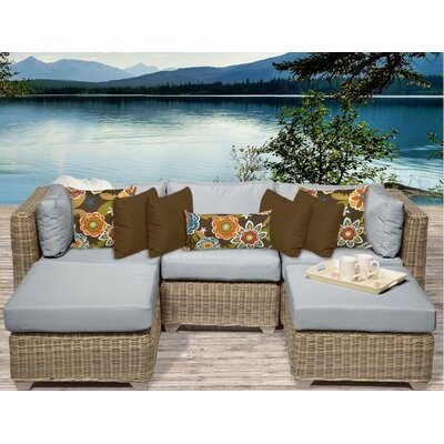 Cape Cod 5 Piece Sectional Seating Group with Cushion Fabric: Grey
