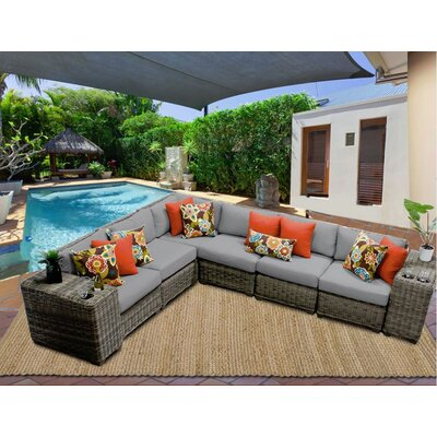 Cape Cod 8 Piece Sectional Seating Group with Cushion Fabric: Grey