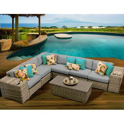 Cape Cod 9 Piece Sectional Seating Group with Cushion Fabric: Grey
