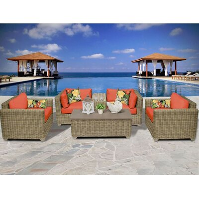 Cape Cod 6 Piece Deep Seating Group with Cushion Fabric: Tangerine