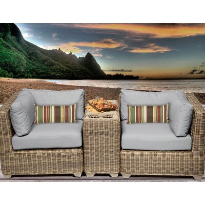Cape Cod 3 Piece Deep Seating Group with Cushion Fabric: Grey