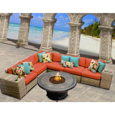 Cape Cod 9 Piece Fire Pit Seating Group with Cushion Fabric: Tangerine