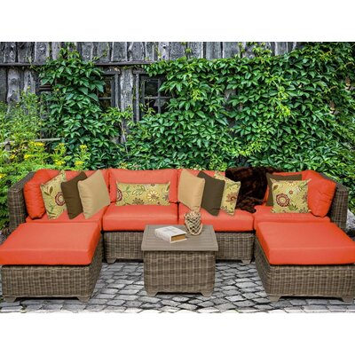 Cape Cod 7 Piece Sectional Seating Group with Cushion Fabric: Tangerine