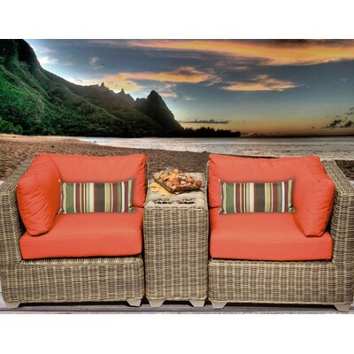 Cape Cod 3 Piece Deep Seating Group with Cushion Fabric: Tangerine