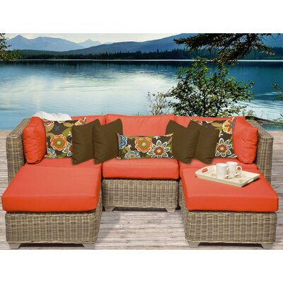 Cape Cod 5 Piece Sectional Seating Group with Cushion Fabric: Tangerine