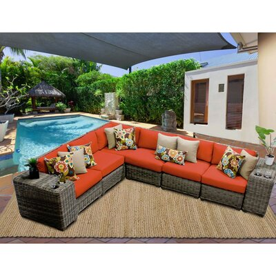 Cape Cod 8 Piece Sectional Seating Group with Cushion Fabric: Tangerine
