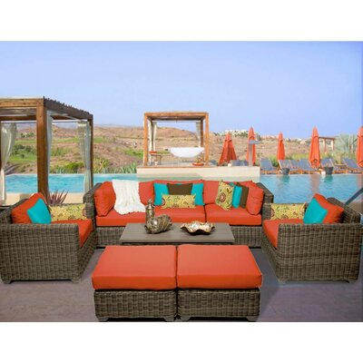 Cape Cod 8 Piece Deep Seating Group with Cushion Fabric: Tangerine