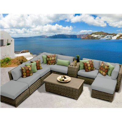 Cape Cod 10 Piece Sectional Seating Group with Cushion Fabric: Grey
