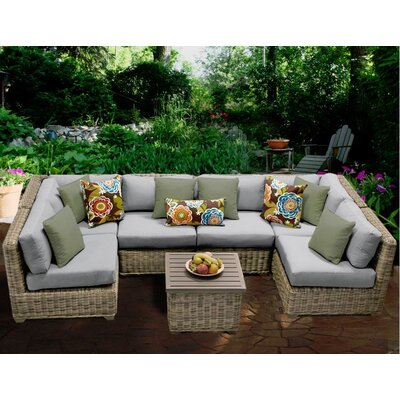 Cape Cod 7 Piece Sectional Seating Group with Cushion Fabric: Grey
