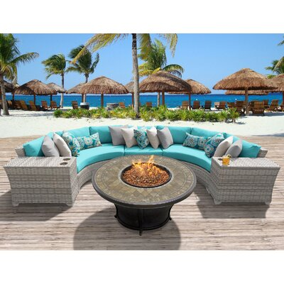 Fairmont Outdoor Wicker 6 Piece Fire Pit Seating Group with Cushion Fabric: Aruba