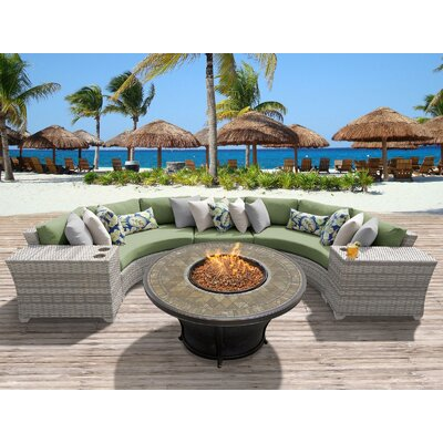 Fairmont Outdoor Wicker 6 Piece Fire Pit Seating Group with Cushion Fabric: Cilantro
