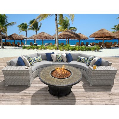 Fairmont Outdoor Wicker 6 Piece Fire Pit Seating Group with Cushion Fabric: Grey