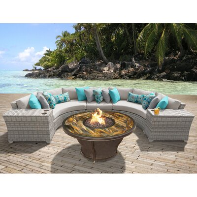 Fairmont Outdoor Wicker 6 Piece Fire Pit Seating Group with Cushion Fabric: Beige