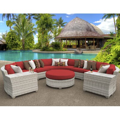 Fairmont Outdoor Wicker 8 Piece Sectional Seating Group with Cushion Fabric: Terracotta
