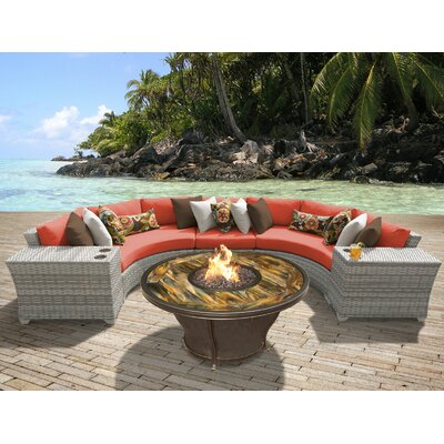 Fairmont Outdoor Wicker 6 Piece Fire Pit Seating Group with Cushion Fabric: Tangerine