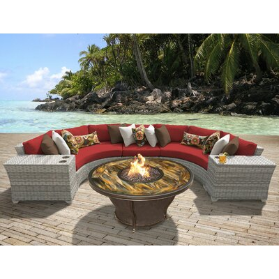 Fairmont Outdoor Wicker 6 Piece Fire Pit Seating Group with Cushion Fabric: Terracotta