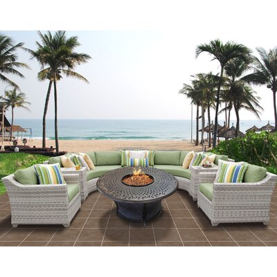 Fairmont Outdoor Wicker 8 Piece Sectional Seating Group with Cushion Fabric: Cilantro