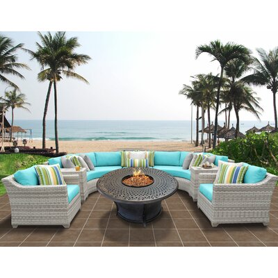 Fairmont Outdoor Wicker 8 Piece Sectional Seating Group with Cushion Fabric: Aruba
