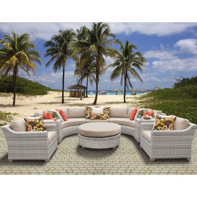 Fairmont Outdoor Wicker 8 Piece Sectional Seating Group with Cushion Fabric: Wheat