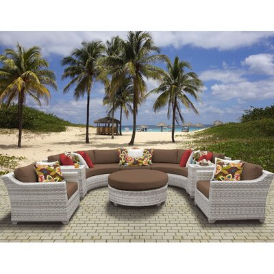 Fairmont Outdoor Wicker 8 Piece Sectional Seating Group with Cushion Fabric: Cocoa