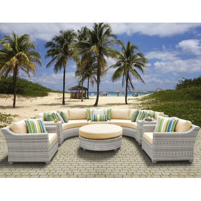 Fairmont Outdoor Wicker 8 Piece Sectional Seating Group with Cushion Fabric: Sesame