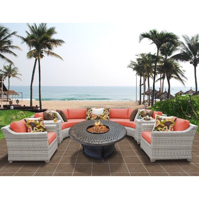 Fairmont Outdoor Wicker 8 Piece Sectional Seating Group with Cushion Fabric: Tangerine