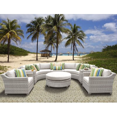 Fairmont Outdoor Wicker 8 Piece Sectional Seating Group with Cushion Fabric: Beige