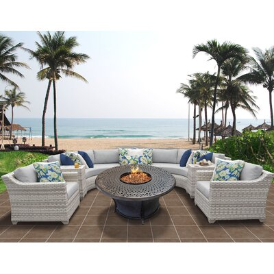Fairmont Outdoor Wicker 8 Piece Sectional Seating Group with Cushion Fabric: Grey